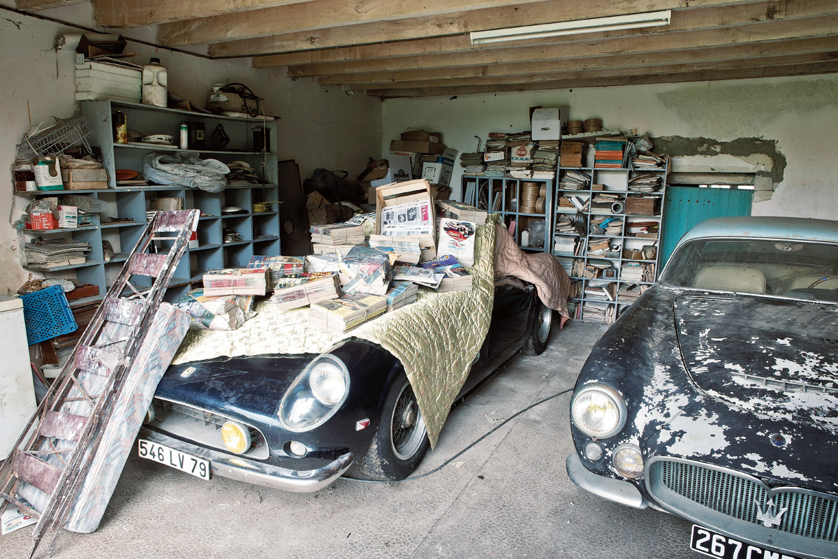 Ferrari 250 GTB SWB California Spider der Sammlung Baillon in einer Garage