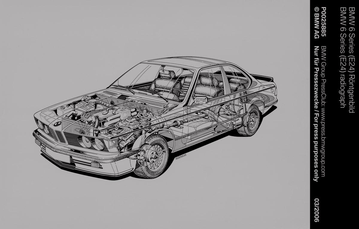 Explosionszeichnung eines BMW 6er